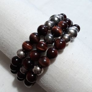 Red tigers eye and sterling  bead bracelets